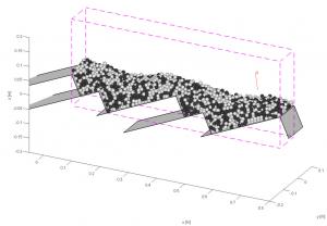 Pav. 5. Kietojo kuro dalelių ant judančio ardyno modelis